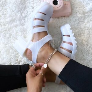 White Caged Gladiator Jelly PVC Chunky Sandals
